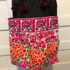 Cambodia artisanal embroidered big floral tote